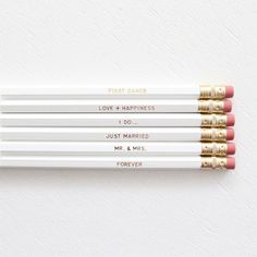 ULTIMATE WEDDING PENCIL SET- WHITE BY MISS POPPY DESIGN