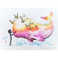 """""Farewell""  Watercolour on Canson Montval size 29,7x42,0 cm 300gsm  This illustration inspired by Laboon (One Piece by Eichiro Oda)  #watercolor #watercolour #painting #illustration #whale #butterfly by #jongkie"" Photo taken by @jongkie on Instagram, pinned via the InstaPin iOS App! http://www.instapinapp.com (09/09/2015)"