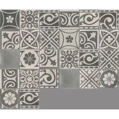 Carreau de ciment sol et mur gris foncé et clair Patchwork l.20 x L.20 cm