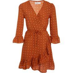 Faithfull Carmel Wrap Dress (2.130.400 IDR) ❤ liked on Polyvore featuring dresses, faithfull, orange, orange wrap dress, orange dress, peplum dress and brown peplum dress
