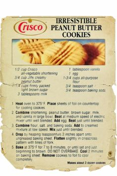 Rich Pecan Pie Recipe from Log Cabin Syrup was Clipped from a Magazine. Crisco Recipes, Peanut Butter Recipes, Old Recipes, Baking Recipes, Betty Crocker Peanut Butter Cookie Recipe, Family Recipes, Cream Recipes, Yummy Recipes, Holiday Recipes