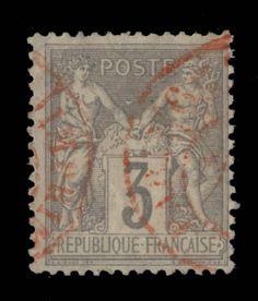 TYPE SAGE - 1880 - N°87 3c GRIS (N SOUS U) CAD ROUGE DES IMPRIMÉS - TB in Timbres, France, France: oblitérés | eBay