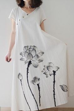 Women loose fit over plus size ethic lily flower linen dress maxi long tunic Elisa Cavaletti, Night Dress For Women, Vestido Casual, Painted Clothes, Vestidos Vintage, Mi Long, Casual Dresses, Maxi Dresses, Dress Skirt