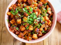 """Sweet Potato and Bacon Hash (Ladies Who Brunch) - Molly Yeh, """"Girl Meets Farm"""" on the Food Network. Cubed Sweet Potatoes, Sweet Potato Hash, Sweet Potato Recipes, Good Sweet Potato Recipe, Food Network Recipes, Cooking Recipes, Healthy Recipes, Cooking Network, Savoury Recipes"""