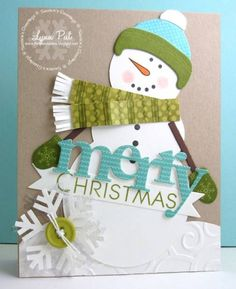 This handmade Christmas card was created using the Papertrey Ink snowman die set -isn't he adorable! There's a coordinating stamp set for the accessories. This little guy is all bundled up in hat, scarf and mittens, and one giant snowflake. Christmas Paper, Christmas Snowman, Christmas Greetings, Handmade Christmas, Christmas Crafts, Merry Christmas, Xmas Cards, Holiday Cards, Greeting Cards