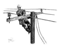 """Tying in Conductor"" Framed Art Print Lineman Love, Lineman Gifts, Power Lineman, Electrical Lineman, Electrical Wiring, Lineman Tattoo, Cricut Monogram, Utility Trailer, Metal Artwork"