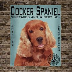 Cocker Spaniel Vineyards and Winery Co.Print by BarkArtPortraits, $40.00