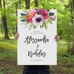 Printable Wedding Welcome Sign Watercolor Floral by CouturePress