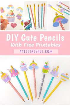Make DIY cute pencils with this simple craft tutorial. Includes free printable pencil toppers of unicorns, cupcakes and rainbows ♥ #cute #craft #diy #craftsforkids #penciltoppers #kawaii #backtoschool #ayelet_keshet Pencil Topper Crafts, Pencil Crafts, Pencil Toppers, Free Printable Cards, Printable Crafts, Printables, Diy Arts And Crafts, Diy Craft Projects, Diy Crafts