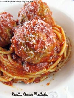 Ricotta Cheese Meatballs.  This is my new go-to recipe for Meatballs.  Love it!  I used part-skim ricotta and 90% lean ground meat.  The ricotta helped keep the meatball moist and tender.