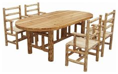 rustic log kitchen table and chairs set
