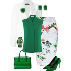 White/Green Office by alpate on Polyvore featuring мода, Dolce&Gabbana, River Island, Yves Saint Laurent, Furla, Simplify and Margaret Elizabeth