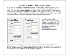 Weight Watcher Points Calc