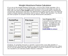 Weight Watcher Points Calc