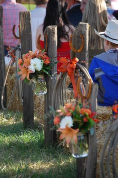 Perfect For a Western Wedding ~Aisle decor with ropes and mason jars and flowers