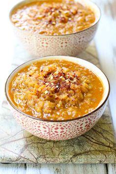 spicy red lentil soup with veggies | maria ushakova