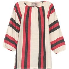 Ace & Jig Heather balloon-sleeved top (1.155 RON) ❤ liked on Polyvore featuring tops, red white, red white top, red top, red striped top, striped top and stripe top