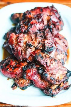 Grilled Chinese Char Siu Chicken - this marinade is phenomenal! No artificial colors in this recipe - brilliant red beet powder stands in for red food coloring