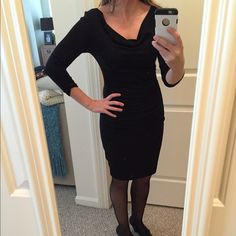 Michael Stars Shine Rouched Bodycon Dress So sexy w. flattering rouched detail, worn once- black 58% Cotton/42% Nylon.  3/4 sleeve, knee length dress.  Tag says one size, but best for a small/med Michael Stars Dresses Midi