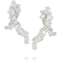 Kenneth Jay Lane Rhodium-plated cubic zirconia earrings ($150) ❤ liked on Polyvore