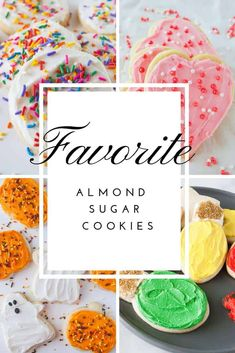 My favorite almond sugar cookies are easy, roll out, cut out sugar cookies! They are delicious with frosting, decorated with icing or topped with sprinkles! Spring Recipes, Winter Recipes, Holiday Recipes, Holiday Ideas, Best Dessert Recipes, Fun Desserts, Cookie Recipes, Roll Out Sugar Cookies, Fun Cookies