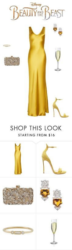 """""""Modern Dress for Beauty and the Beast..."""" by sebolita ❤ liked on Polyvore featuring Galvan, Casadei, Sydney Evan, Disney, modern, BeautyandtheBeast and contestentry"""