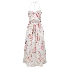 Zimmermann Floral Cut Out Dress ($550) ❤ liked on Polyvore featuring dresses, floral dresses, floral lace dress, lace halter top, pink dress and halter swim top