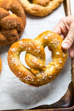 These vegan soft pretzels need just 10 ingredients and are ready in under 2 hours. Most of that time is rising! Delicious, soft, and 3 variations included. Salted, Cinnamon Sugar and Garlic Parmesan Vegan Pretzels. Dairy Free Snacks, Dairy Free Milk, Gluten Free Desserts, Vegan Pretzel Recipe, Pretzels Recipe, Vegan Parmesan, Garlic Parmesan, Vegan Nachos, Thing 1