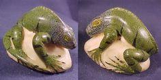 Super Wounaan Iguana Tagua carving-Panama #13327