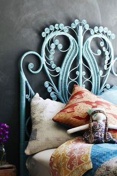 I love the painted wicker headboard against the charcoal wall. I had a headboard like this growing up tho mine wasn't painted - totally new look Home Bedroom, Bedroom Decor, Master Bedrooms, Bedroom Designs, Bedroom Ideas, Warm Bedroom, Bedroom Inspiration, Dream Bedroom, Bedroom Wall