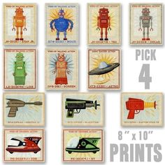 Robots, Rayguns and Racers Set of 4 Prints - Pick your Mix - 8 in x 10 in Tin Toy Robot Art - Raygun Art - Racer Art - Art for Boys Room. $70.00, via Etsy.