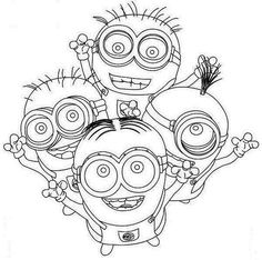 Four Happy Minion Coloring Page Pages Printable And Book To Print For Free Find More Online Kids Adults Of