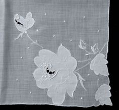 Vintage Madiera Embroidery Linen Hanky - Bold Rose Applique & Satin Stitches #Madeira #Floral