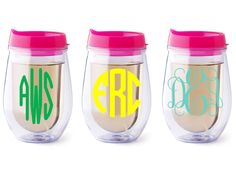 Personalized Tervis wine glass with lid-- so cool