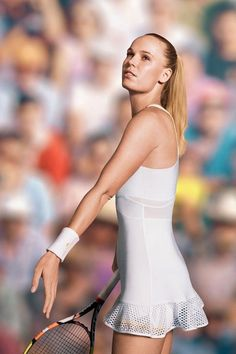 Danish tennis star Caroline Wozniacki worked with designer Stella McCartney and adidas on this dress which she'll wear at Wimbledon that has a mesh skirt and gold trimmed shorts Mode Tennis, Wta Tennis, Tennis Wear, Wimbledon Tennis, Sport Tennis, Tennis Dress, Tennis Clothes, Tennis Outfits, Nike Clothes