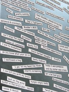 potential teen program to do with recycled books (if the text is big enough) by making your own word magnets from phrases you cut out -- could be a fun experiment!