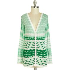 Refreshing Assort-mint Cardigan ($45) ❤ liked on Polyvore