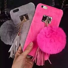 Cases, Covers & Skins Warm Fluffy Rabbit Fur Plush Ball Tassel Fuffy Case Cover For Iphone Plus Cute Cases, Cute Phone Cases, Iphone Phone Cases, Ipod 6, Fluffy Phone Cases, Portable Apple, Coque Smartphone, Smartphone Covers, Accessoires Iphone