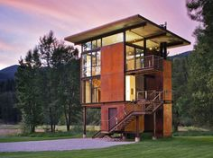 Exterior and House Building Type Delta Shelter, designed by Tom Kundig. Photo by Tim Bies, Olson Kundig Architects. Photo 18 of 35 in Olson Kundig Houses by Diana Budds from Building the Maxon House: Week 24 Amazing Architecture, Architecture Details, Modern Architecture, Seattle Architecture, Prefab Homes, Modular Homes, Cabana, Casas Containers, Tower House