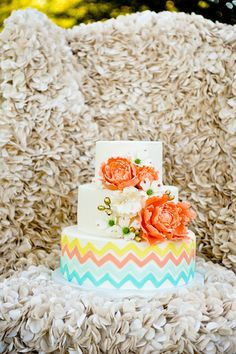 Cakes   Taupe/Peach   chevron flowers colorful Whimsical 3 tiers smooth   Wed Society