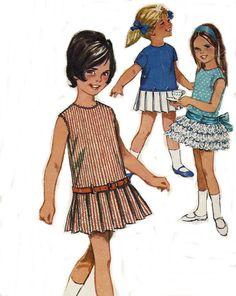 Girls 60s Drop Waist Pleats Ruffle Skirt Dress Pattern Simplicity 5901 Size 3 Vintage Sewing Pattern