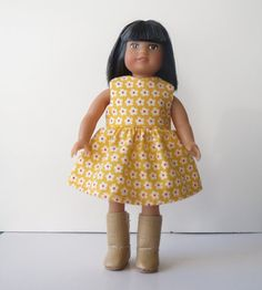 Spring Yellow Floral Dress for American Girl Mini Doll.