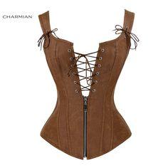 Charmian Faux Leather Corset Sexy Brown Zipper Steampunk Corset Overbust Lace Up Back Vest Corset Corselet Espartilhos for Women