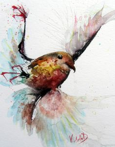 ARTFINDER: Whoops! Slippery air, today! by Violeta Damjanovic - Whoops! Slippery air, today! Painted in watercolour technique, using fast and watery brushstrokes for the wings, which brings the atmosphere of panic and los...