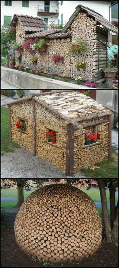 The beautiful art of wood stacking! Got a pile of firewood or logs too big for a firewood holder? Then you've probably just got them stacked in one corner of your yard. But there's a lot more you can do with a heap of wood! You can use that firewood to c Firewood Holder, Firewood Storage, Firewood Logs, Into The Woods, Yard Art, Articles En Bois, Stacking Wood, Stacking Firewood, Wood Shed
