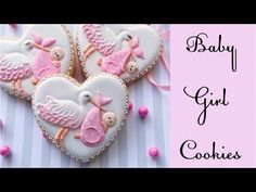 Ideas How To Decorate Cookies With Royal Icing Baby Shower Cookies Rosa, Rose Cookies, Flower Cookies, Royal Icing Cookies, Cupcake Cookies, Cupcakes, Baby Girl Cookies, Cookies For Kids, Baby Shower Cookies
