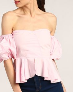 3582c6c1325 Pink Eudora Off Shoulder Peplum Cotton Casual Top Online Shopping