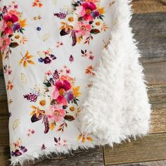 Minky Llama Faux Fur Baby Blanket Fall floral White Baby