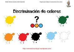 Discriminación y reconocimiento de colores: actividades para trabajar la discriminación de colores. De forma lúdica y divertida, en total son 40 fichas de actividades, con ejercicios de discriminación, identificación, reconocimiento, etc.