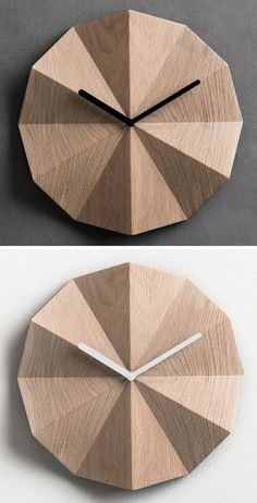 The folds on the surface of these modern wood wall clocks create shadows that change throughout the day as light moves throughout the room. #WallClock #WoodWallClock #ModernClock